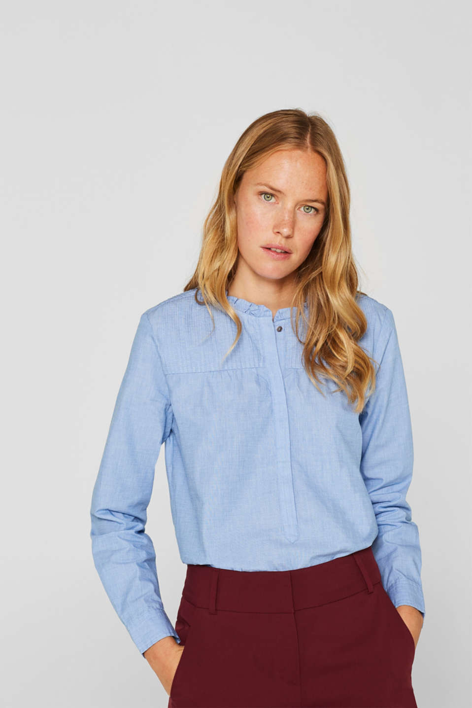 Esprit - Chambraybluse, 100% bomuld