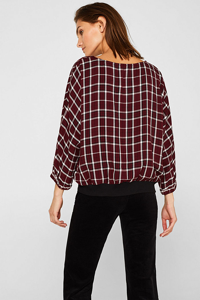 Batwing blouse with ribbed borders, GARNET RED, detail image number 3