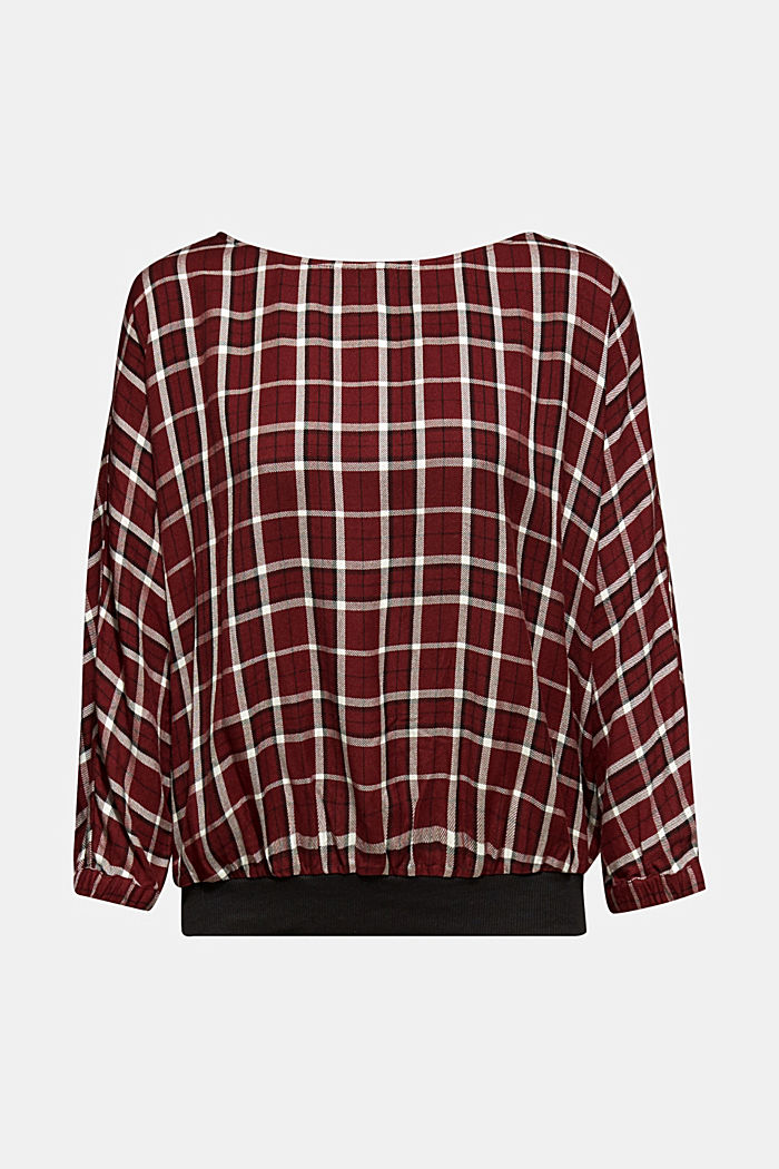 Batwing blouse with ribbed borders, GARNET RED, detail image number 5