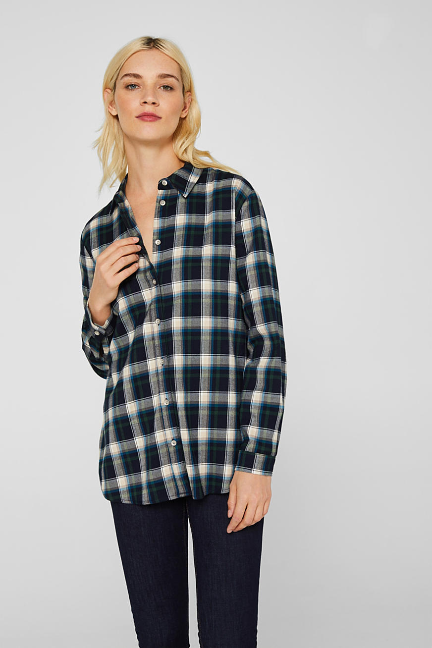 Flanell-Bluse mit Stretch