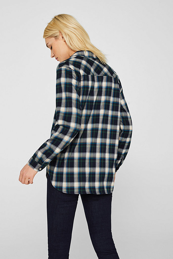 Flannel blouse with stretch, NAVY, detail image number 3
