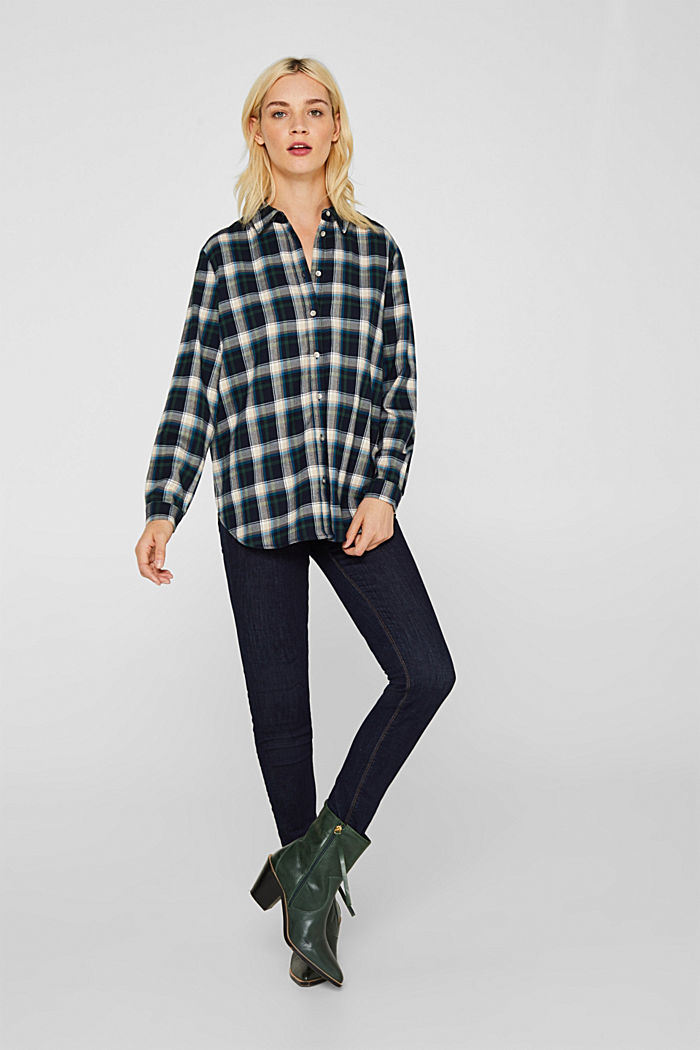 Flannel blouse with stretch, NAVY, detail image number 1