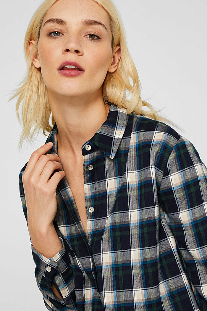 Flannel blouse with stretch, NAVY, detail image number 4