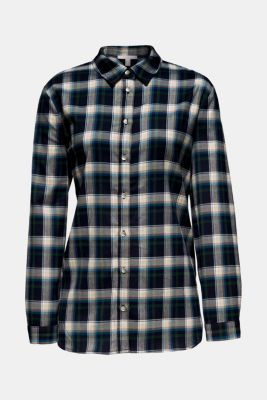 Flannel blouse with stretch, NAVY, detail
