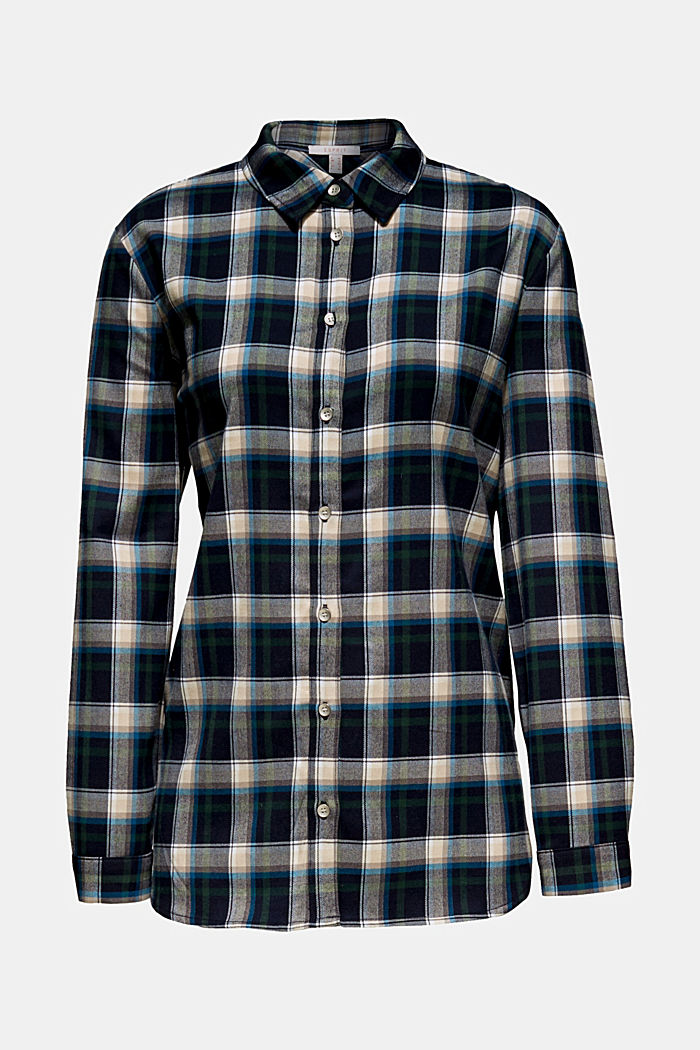 Flannel blouse with stretch, NAVY, overview