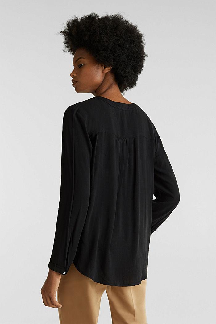 Crêpe blouse with a Henley neckline, BLACK, detail image number 3