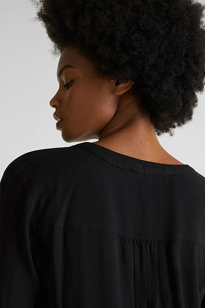 Crêpe blouse with a Henley neckline, BLACK, detail image number 6