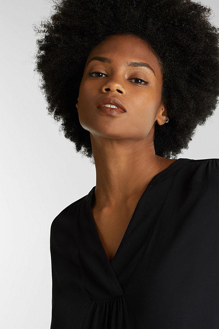 Crêpe blouse with a Henley neckline, BLACK, detail image number 7