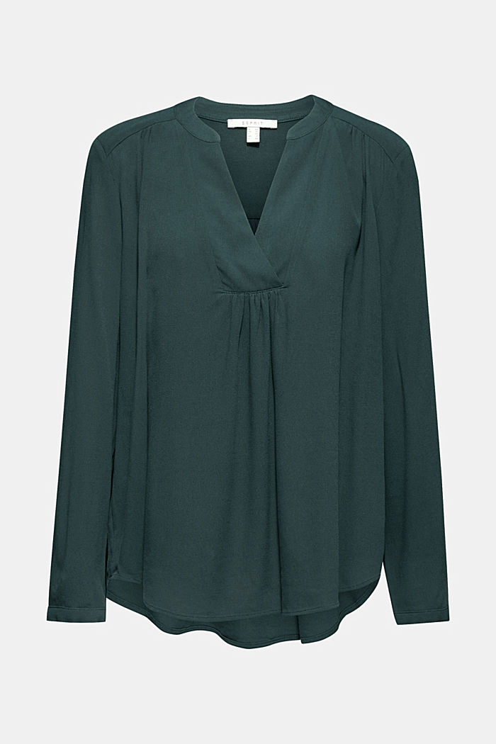 Camicetta in crêpe con scollo henley, BOTTLE GREEN, detail image number 0