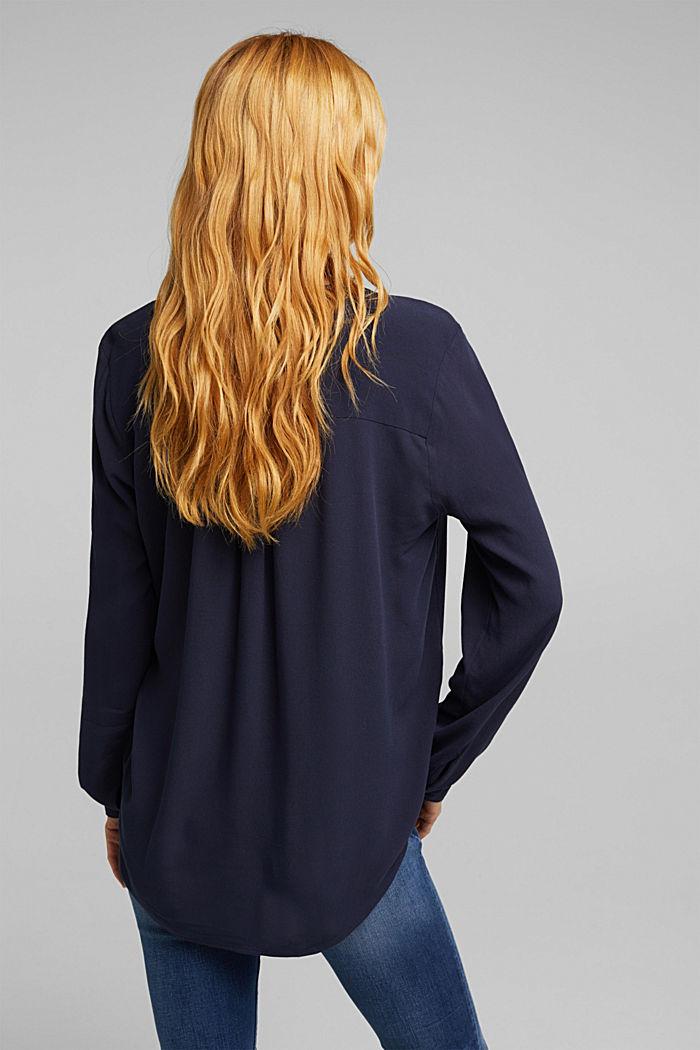 Crêpe blouse met henley hals, NAVY, detail image number 3