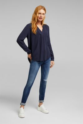 Crêpe blouse with a Henley neckline, NAVY, detail