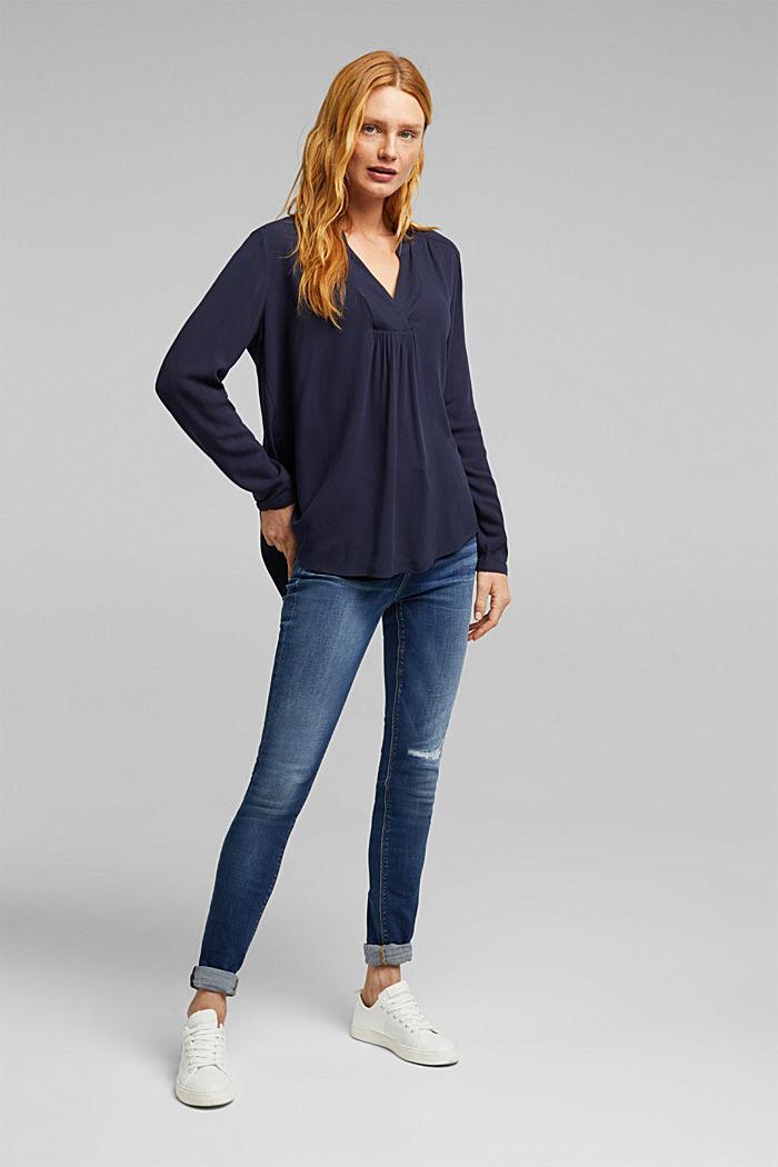 Crêpe blouse met henley hals, NAVY, detail image number 1