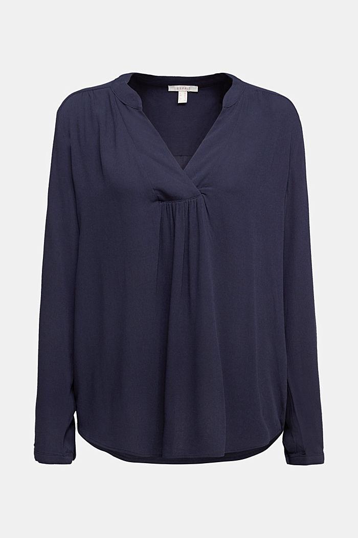 Crêpe blouse met henley hals, NAVY, detail image number 5