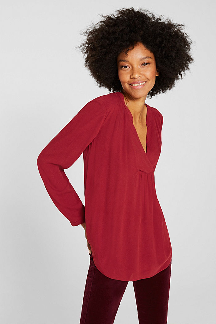 Crêpe blouse with a Henley neckline, GARNET RED, detail image number 0