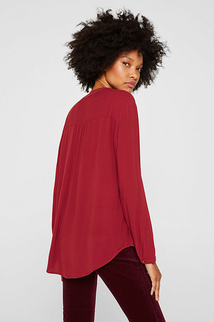 Crêpe blouse with a Henley neckline, GARNET RED, detail image number 3