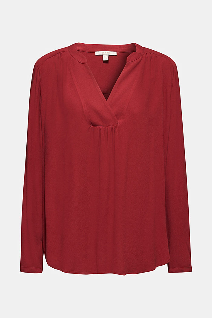 Crêpe blouse with a Henley neckline, GARNET RED, detail image number 6