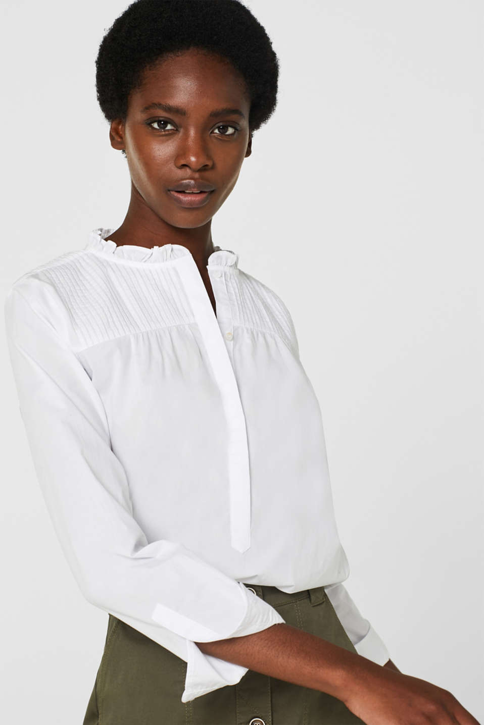 Blouse with pintucks, 100% cotton, WHITE, detail image number 6