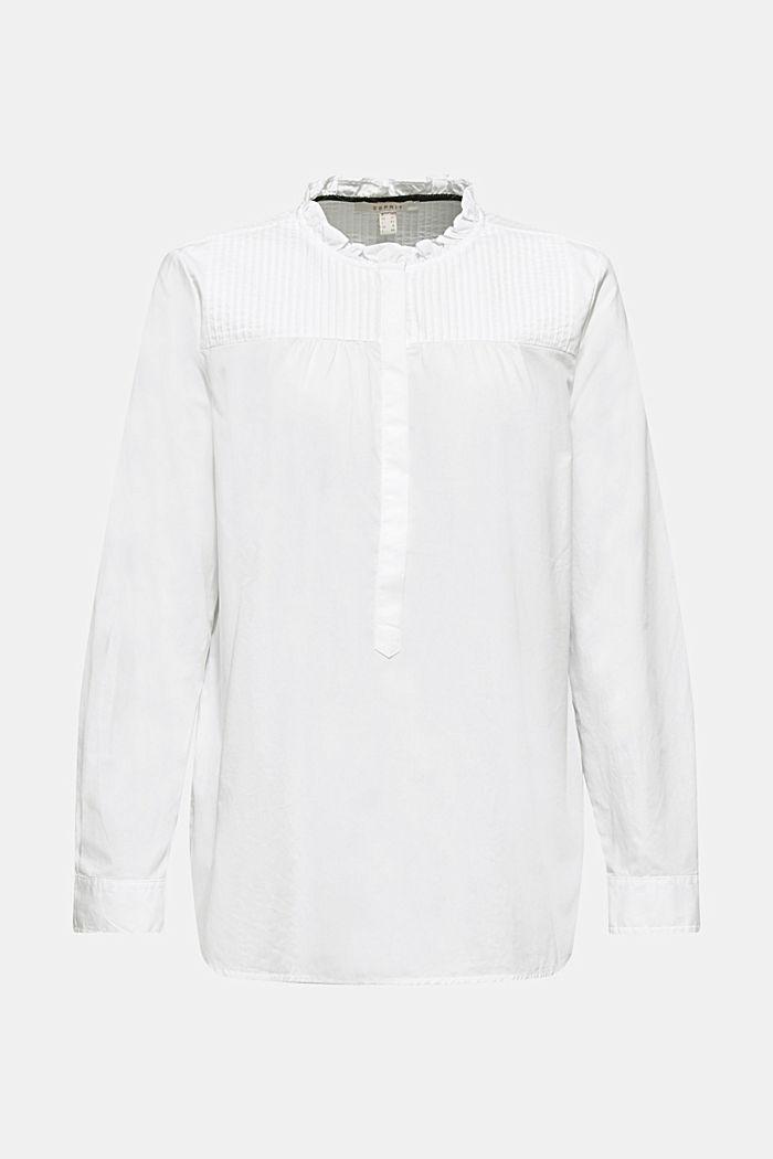 Bluse mit Biesen, 100% Baumwolle