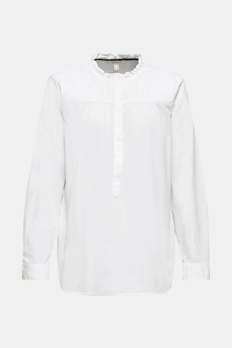 Blouse with pintucks, 100% cotton, WHITE, detail image number 7