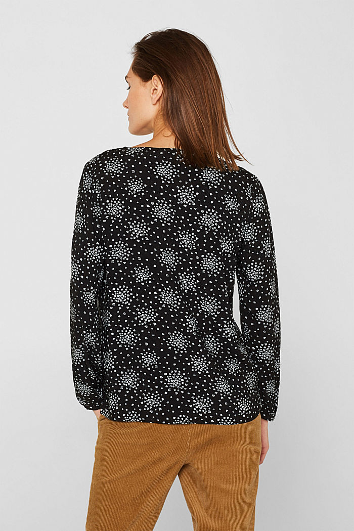 Print blouse with LENZING™ ECOVERO™, BLACK, detail image number 3