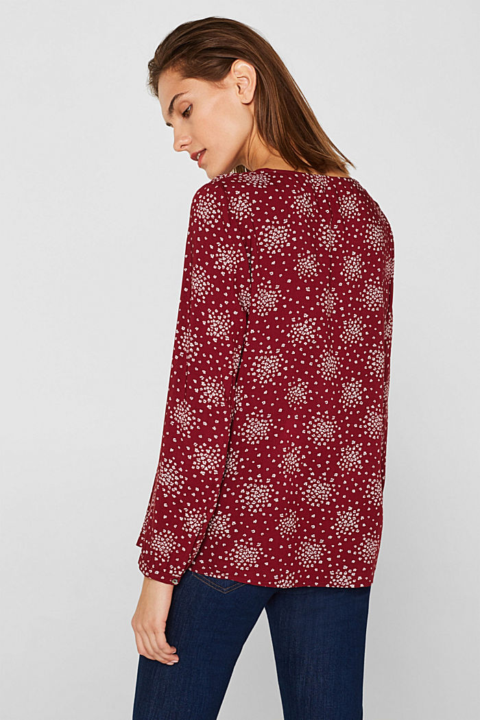 Print blouse with LENZING™ ECOVERO™, GARNET RED, detail image number 3