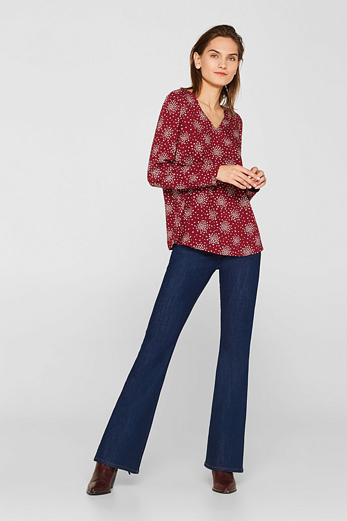 Print blouse with LENZING™ ECOVERO™, GARNET RED, detail image number 1