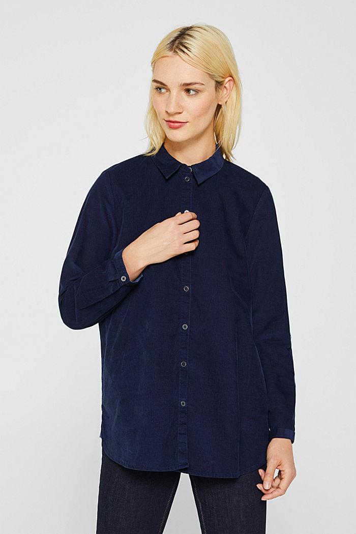 Corduroy shirt blouse, 100% cotton, NAVY, detail image number 0