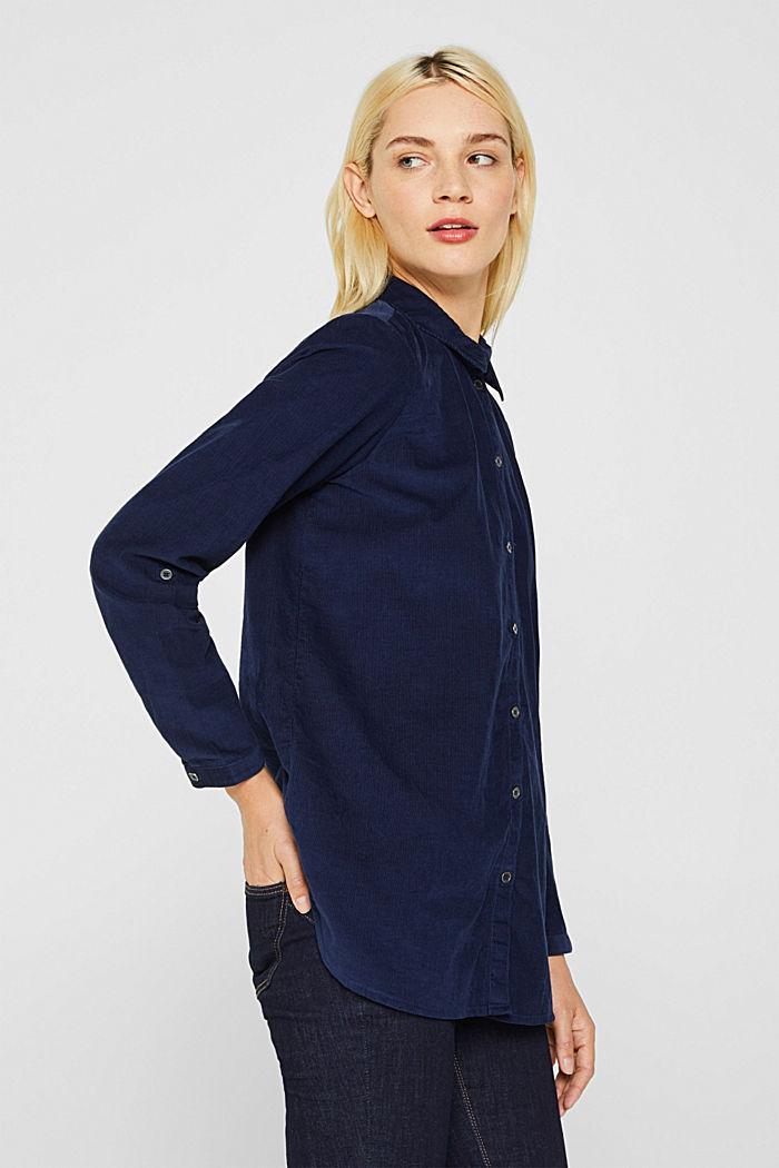 Corduroy shirt blouse, 100% cotton, NAVY, detail image number 5