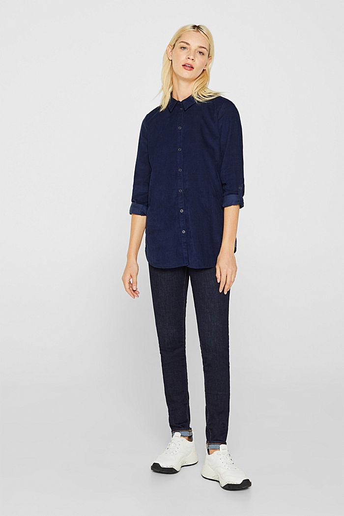 Corduroy shirt blouse, 100% cotton, NAVY, detail image number 1