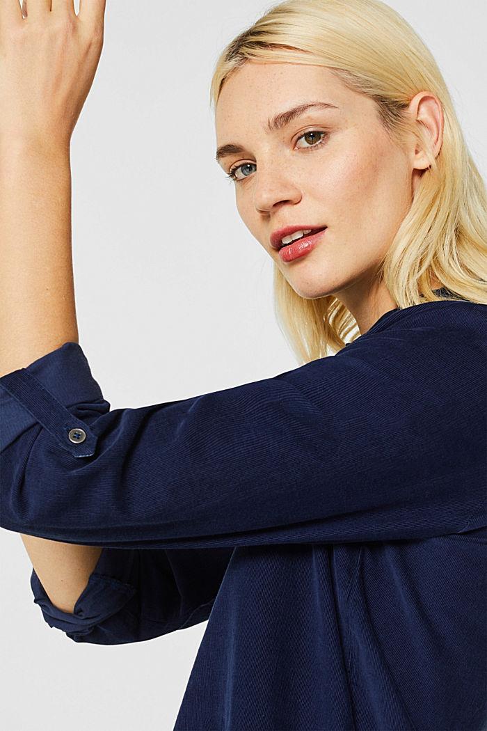 Corduroy shirt blouse, 100% cotton, NAVY, detail image number 2