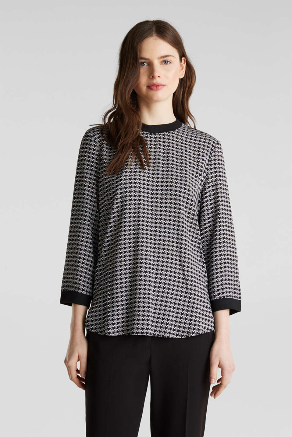 Esprit - Blouse top with ribbed borders