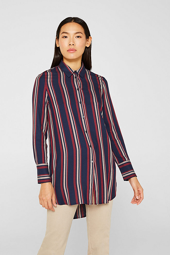 Long striped blouse, NAVY, detail image number 0