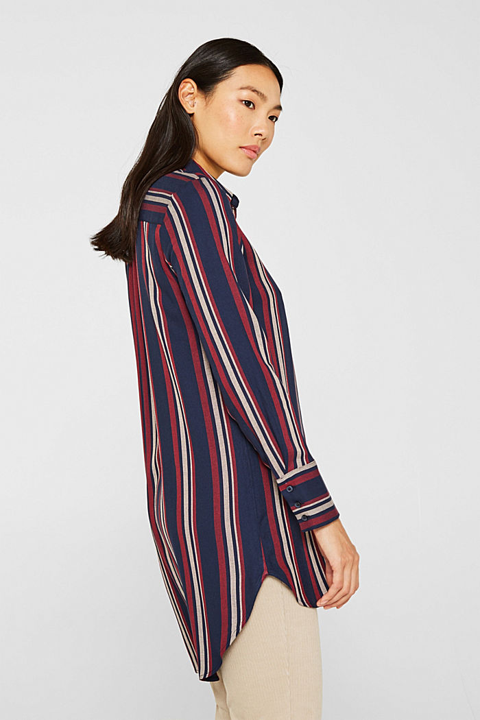 Long striped blouse, NAVY, detail image number 5