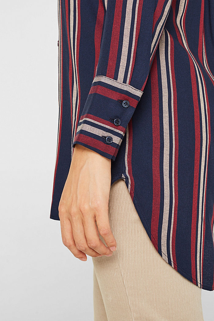 Long striped blouse, NAVY, detail image number 2