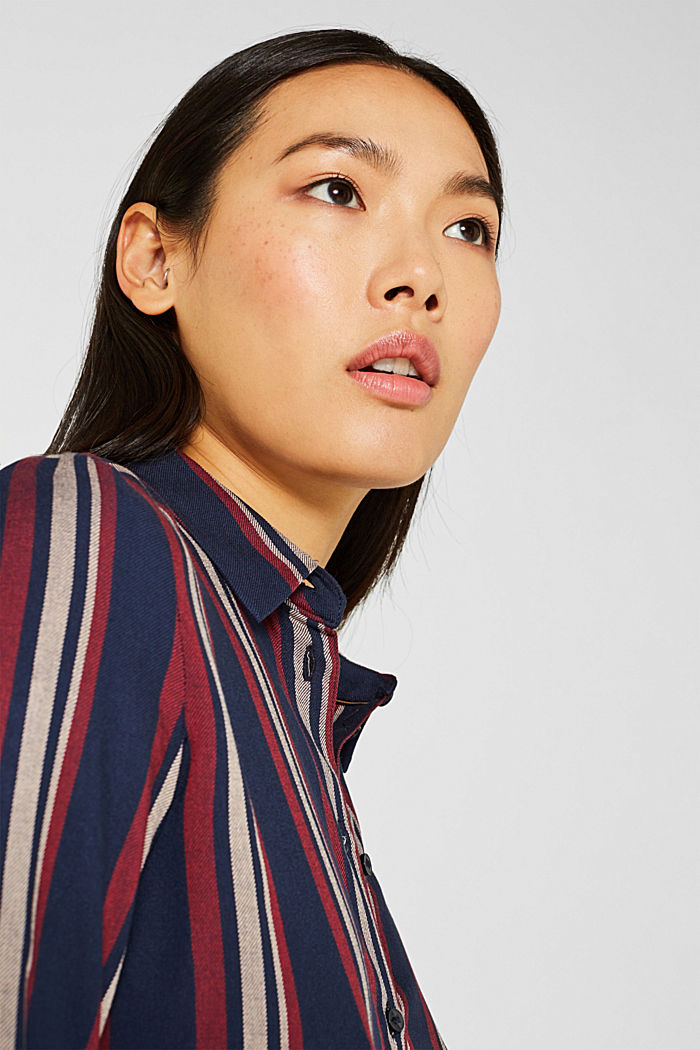 Long striped blouse, NAVY, detail image number 6