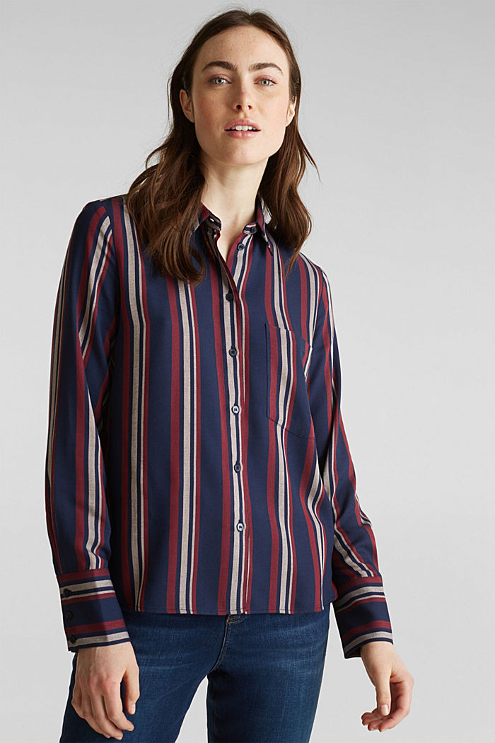 Striped blouse in a shirt style, NAVY, detail image number 0