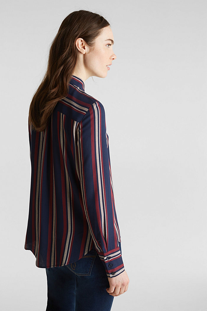 Striped blouse in a shirt style, NAVY, detail image number 3