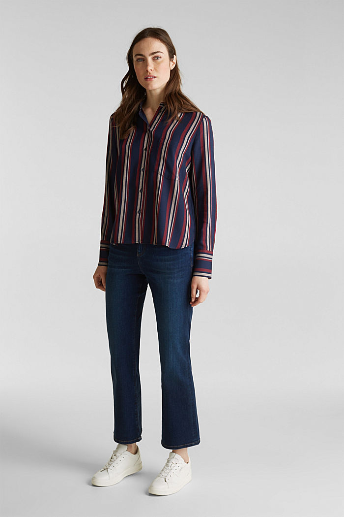 Striped blouse in a shirt style, NAVY, detail image number 6