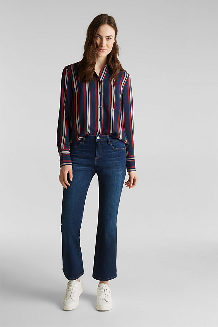 Striped blouse in a shirt style, NAVY, detail image number 1
