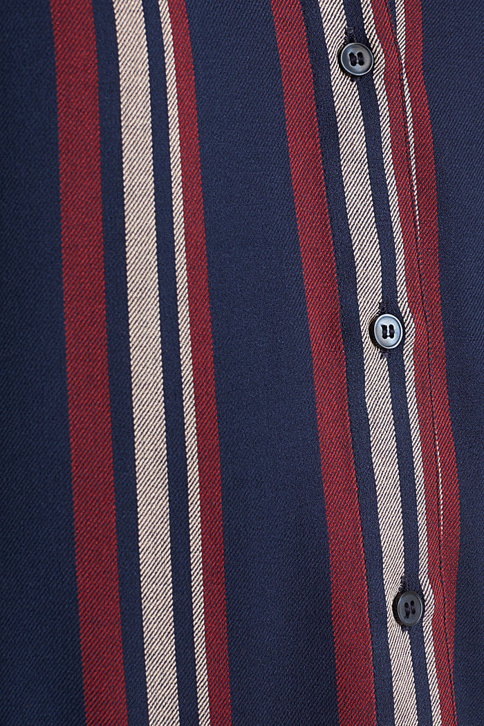 Striped blouse in a shirt style, NAVY, detail image number 4