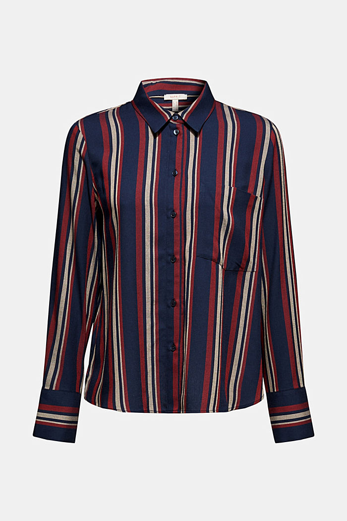 Striped blouse in a shirt style, NAVY, detail image number 7
