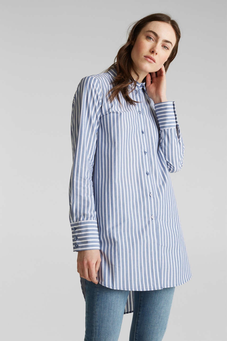 Long blouse with stripes, 100% cotton, BLUE, detail image number 0