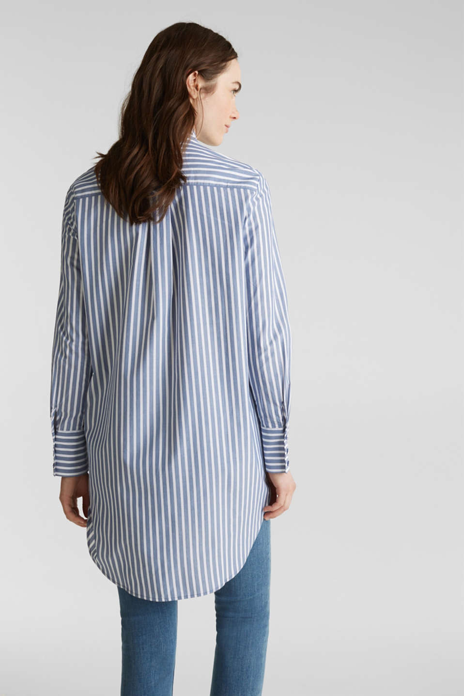 Long blouse with stripes, 100% cotton, BLUE, detail image number 3