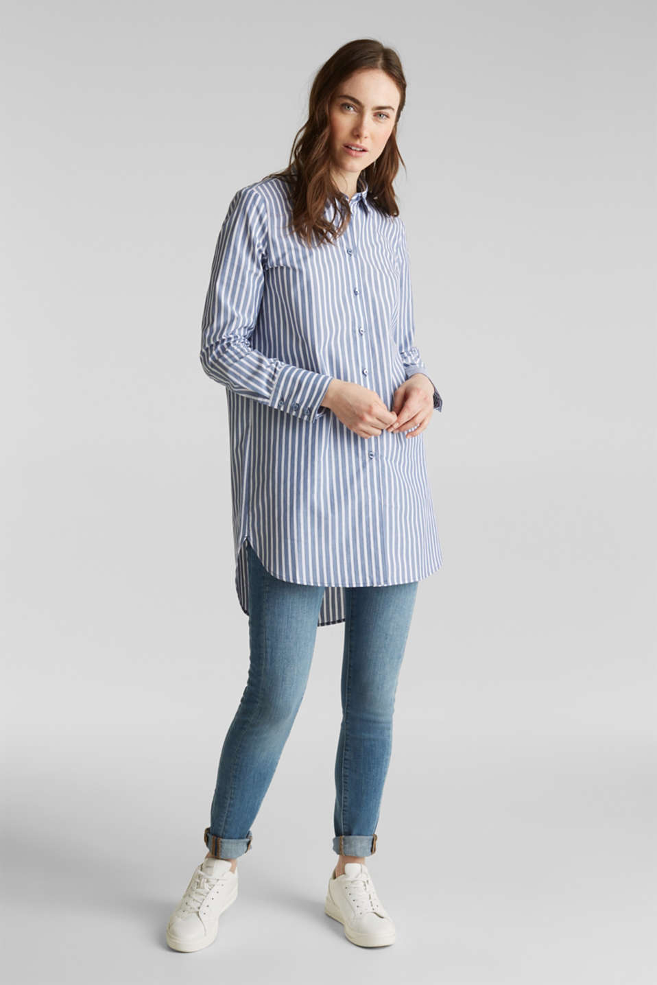 Long blouse with stripes, 100% cotton, BLUE, detail image number 6