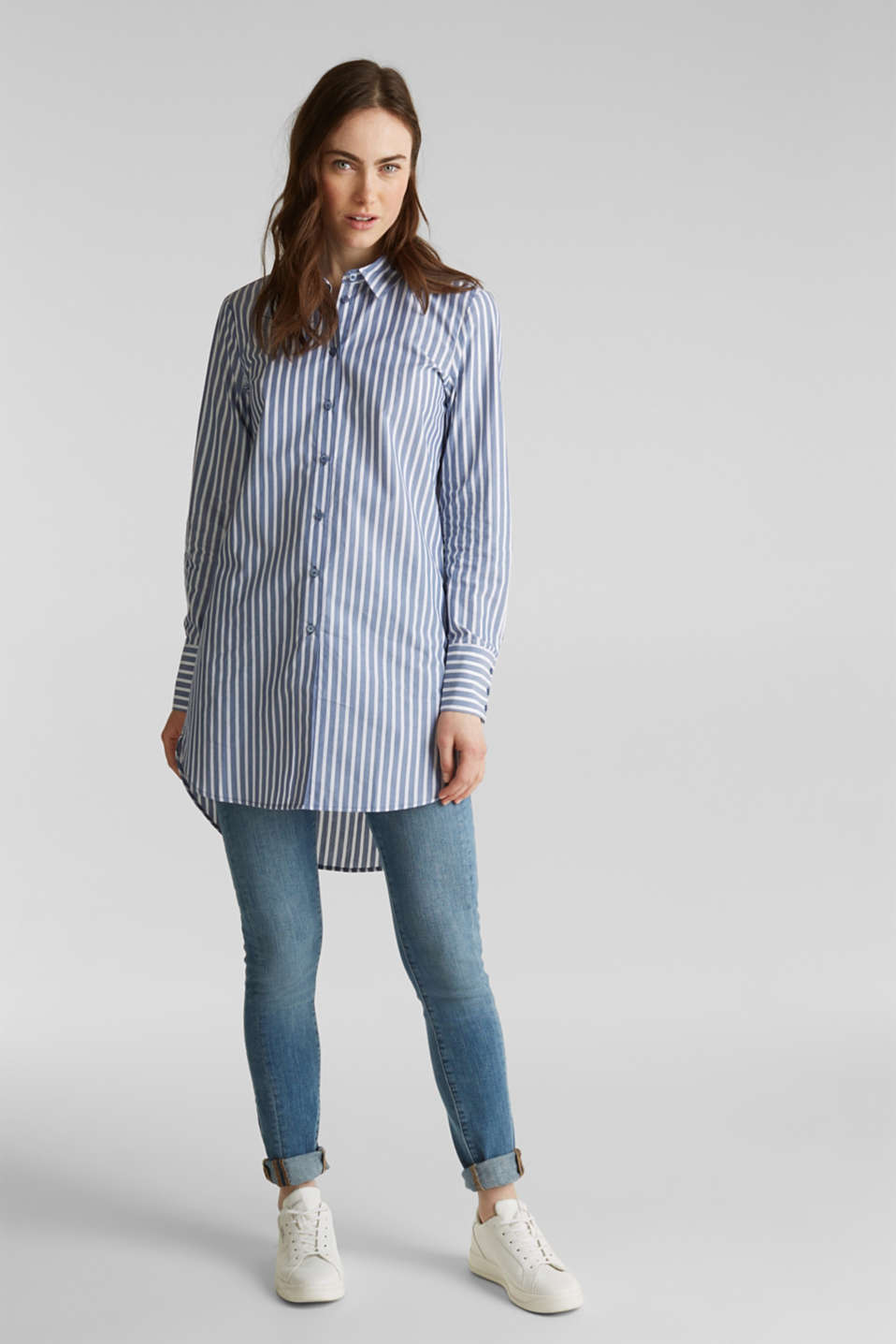 Long blouse with stripes, 100% cotton, BLUE, detail image number 1