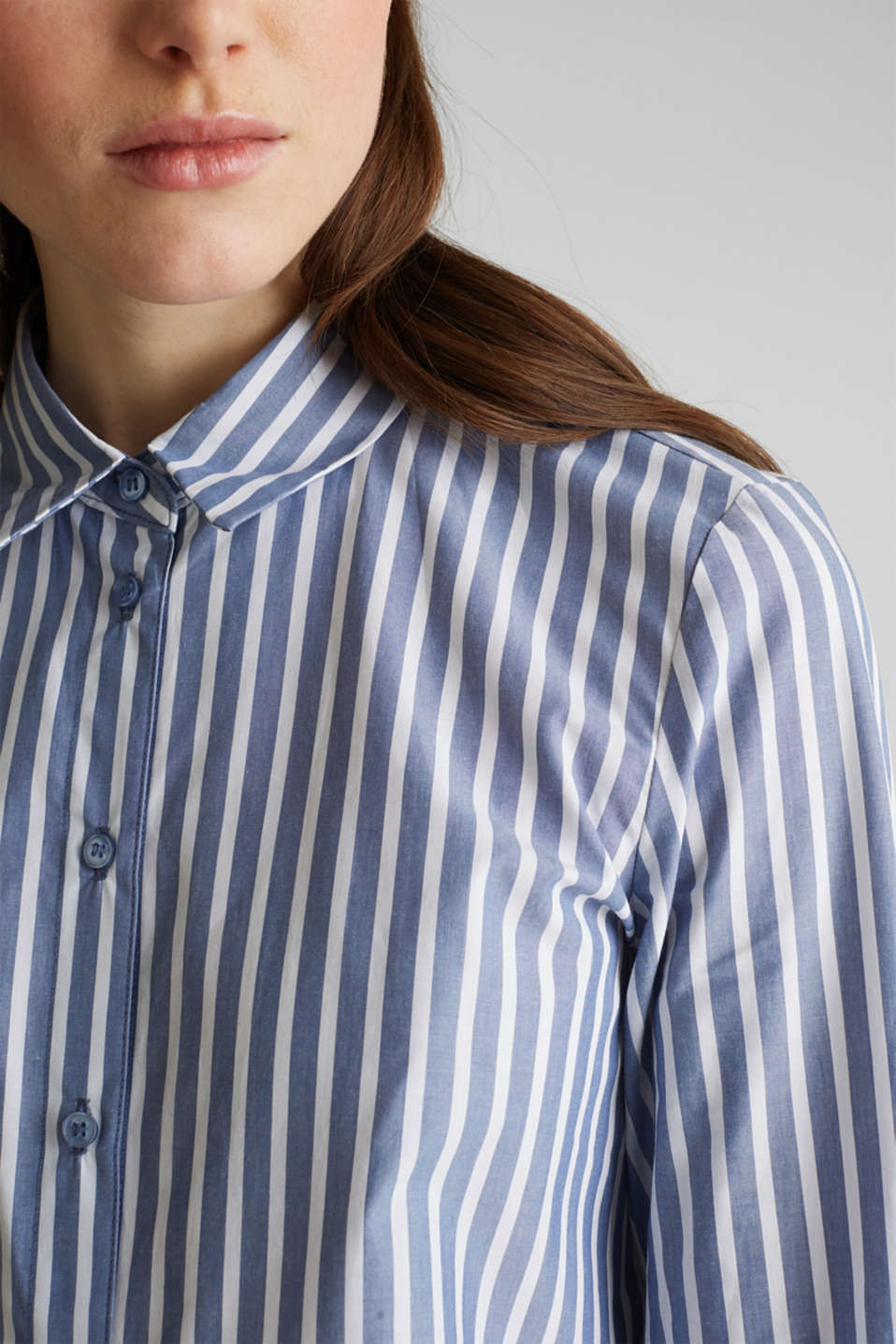Long blouse with stripes, 100% cotton, BLUE, detail image number 5