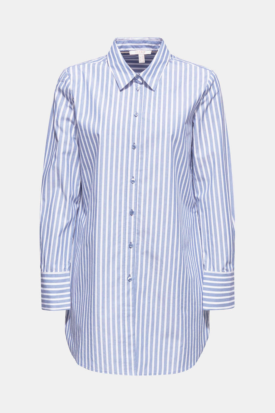 Long blouse with stripes, 100% cotton, BLUE, detail image number 7