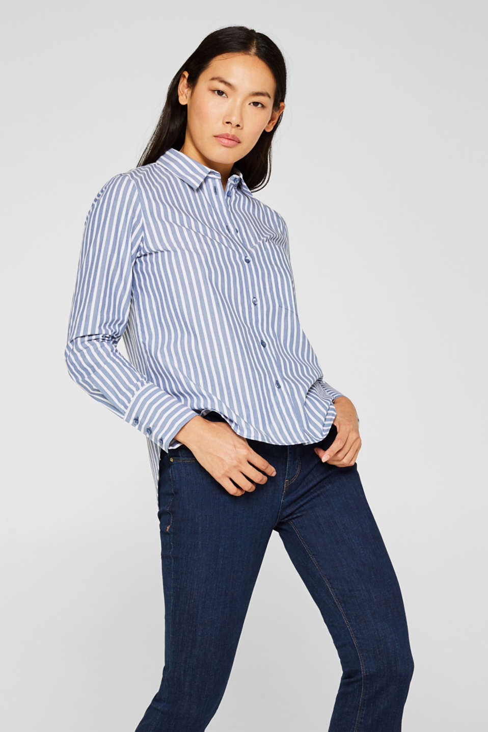 Blouse with stripes, 100% cotton, BLUE, detail image number 0