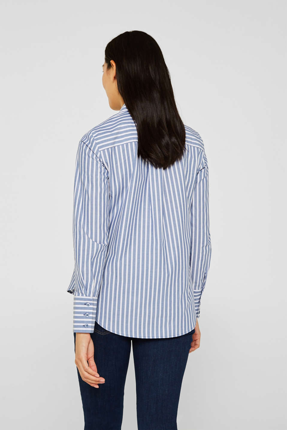 Blouse with stripes, 100% cotton, BLUE, detail image number 3