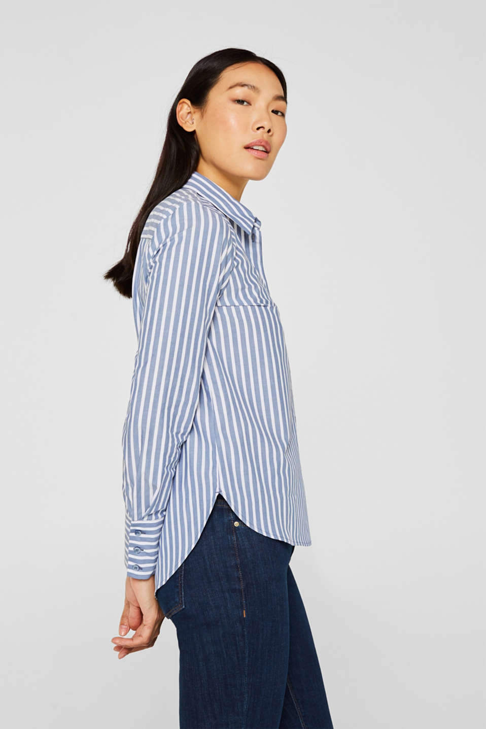 Blouse with stripes, 100% cotton, BLUE, detail image number 5